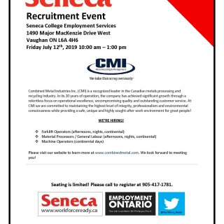Join us July 12th at Seneca's Recruitment Event
